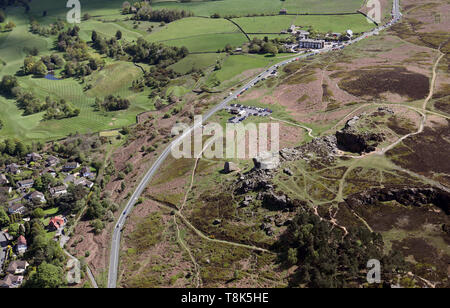 aerial view of Ilkley Moor in Yorkshire - Stock Photo
