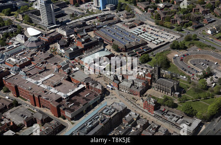 aerial view of Oldham town centre, Greater Manchester - Stock Photo