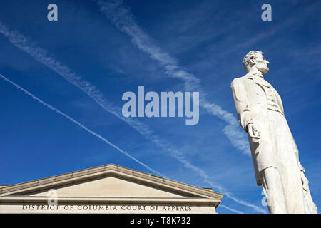 The marble statue of Abraham Lincoln by Lot Flannery in front of District of Columbia Court of Appeals. Judiciary Square. Washington D.C.USA - Stock Photo