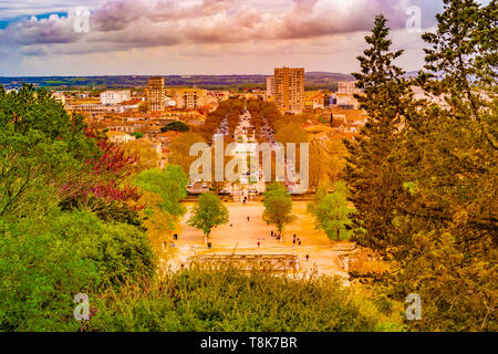 Aerial view of Jardin de la fontaine park and avenue Jean Jaures in Nimes France - Stock Photo