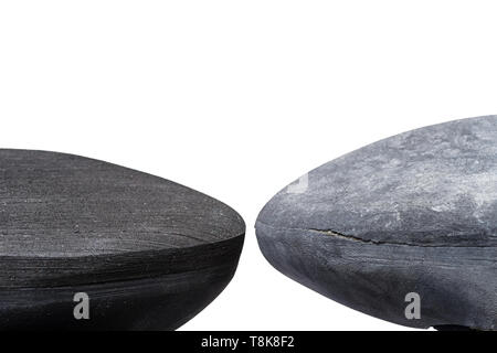 new and old climbing shoe toes showing the wear ready for a resole isolated on white - Stock Photo