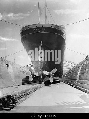 RMS Celtic, White Star Line  in dry dock - Stock Photo