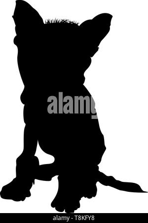 Chinese Crested Dog Silhouette. Smooth Vector Illustration. - Stock Photo