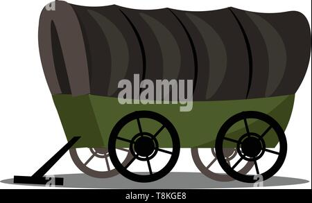 This is an image of covered wagon. Wagon is vehicle used for transportation of goods and other things., vector, color drawing or illustration. - Stock Photo