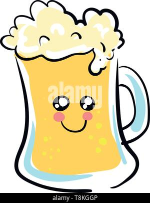 Beer is an alcoholic drink made from grain and hops., vector, color drawing or illustration. - Stock Photo
