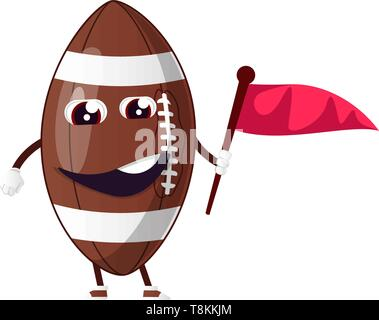 Rugby ball is holding flag, illustration, vector on white background. - Stock Photo