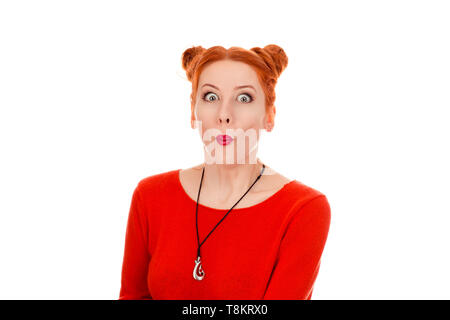 Closeup portrait of a beautiful shocked woman in her 30s looking at camera stunned, wearing red blouse standing posing on pure white background wall.  - Stock Photo