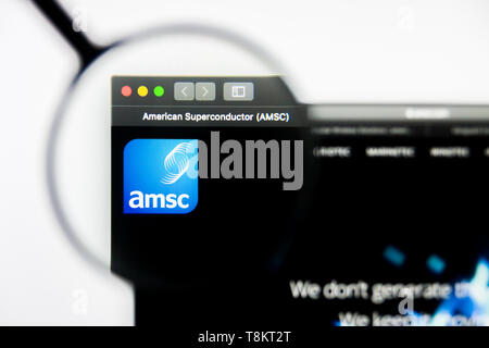 Richmond, Virginia, USA - 9 May 2019: Illustrative Editorial of American Superconductor Corporation website homepage. American Superconductor Corporat - Stock Photo