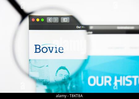 Richmond, Virginia, USA - 9 May 2019: Illustrative Editorial of Bovie website homepage. Bovie logo visible on screen. - Stock Photo