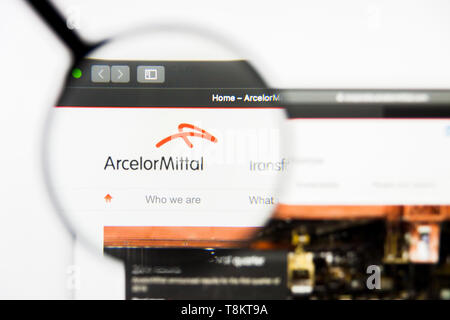 Richmond, Virginia, USA - 9 May 2019: Illustrative Editorial of ArcelorMittal website homepage. ArcelorMittal logo visible on screen. - Stock Photo