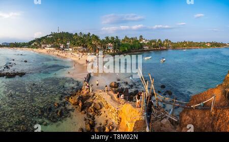 Sri Lanka, Southern province, Mirissa, Mirissa beach seen from the Parrot Rock - Stock Photo