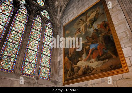France, Paris, area listed as World Heritage by UNESCO, Ile de la Cite, Notre Dame Cathedral, a May in Saint-Eloi chapel, the stoning of Saint-Etienne by Charles Le Brun - Stock Photo