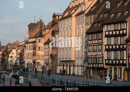 France, Bas Rhin, Strasbourg, old town listed as World Heritage by UNESCO, Quai Saint Nicolas on the banks of the Ill river - Stock Photo