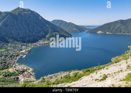 Montenegro, Kotor region, the Bay of Kotor and town of Risan - Stock Photo