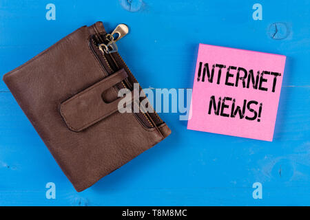 Conceptual hand writing showing Internet News. Concept meaning the information about current events published online - Stock Photo