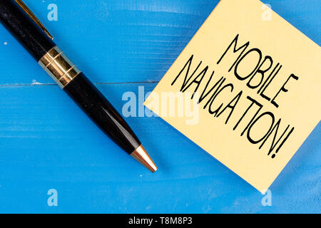 Conceptual hand writing showing Mobile Navigation. Concept meaning graphical user interface used to aid the vehicle driver - Stock Photo