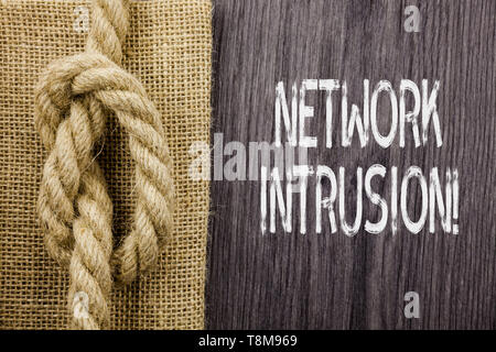 Text sign showing Network Intrusion. Business photo showcasing device or software application that monitors a network - Stock Photo
