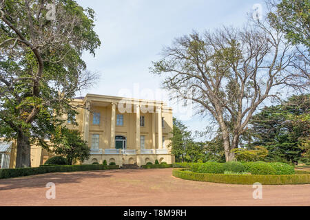TASMANIA, AUSTRALIA - MARCH 4, 2019: A view of the front of Clarendon House near the town of Evandale in Tasmania, Australia. - Stock Photo