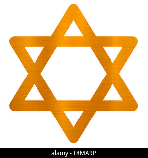star of david judaism jewish religion golden metallic illustration - Stock Photo
