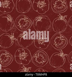 Seamless pattern with tomatos. Vector illustration for your design - Stock Photo