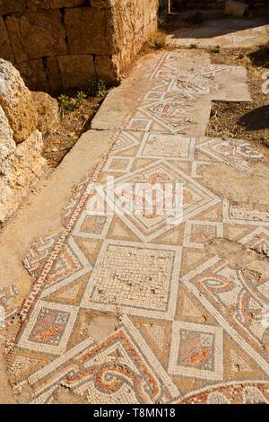 Mosaico en iglesia de San Jorge. Ciudad grecorromana Jerash, Jordania, Oriente Medio - Stock Photo