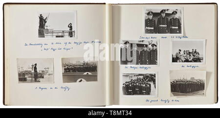 A photograph collection of Oak Leaves winner Rolf Thomsen - commander of U-1202 Nine modern albums with circa 700 photographs from the period between 1944 and 1972, affixed with photo corners. The majority of photographs stem from his period of service in the German navy and the Kriegsmarine. Photographs of different formats, some in colour and with extensive inscriptions. All photographs taken during the war (originals and reproductions), beginning with U-1202 being placed into service to deployment at the base in Bergen/Norway, and surrender. Photographs of the base, subm, Editorial-Use-Only - Stock Photo