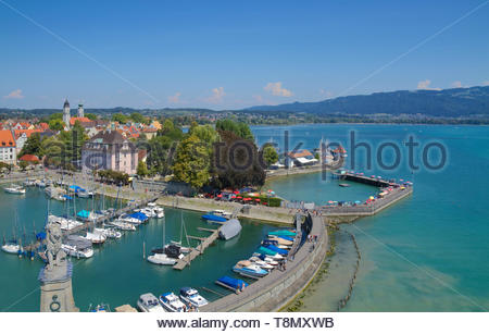 Panoramic view of Lindau from the lighthouse viewing platform - Stock Photo