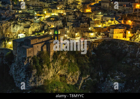 view by night of Sassi Caveoso, old Matera. European Capital of Culture. Matera - Stock Photo
