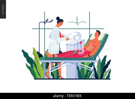 Medical tests template -ECG test -modern flat vector concept digital illustration of electrocardiography procedure -patient with sensors and doctor ca - Stock Photo
