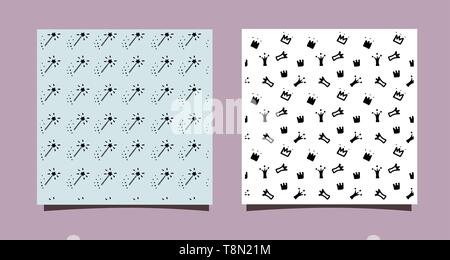 Doodle crowns and magic stick. Hand drawn seamless pattern. Little princess design for nursery wall, clothes, textile, backdrop. Black and white - Stock Photo