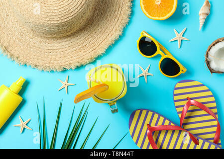 Flat lay composition with summer vacation accessories on color background, closeup and top view. Happy holidays - Stock Photo