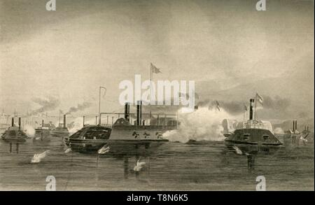 """'Action of the Gunboats at Memphis', (1878). On 6 June 1862, a Union squadron of ironclad gunboats under the command of Flag Officer Charles H Ellet destroyed the Confederate river defence fleet commanded by James E Montgomery, on the Mississippi River near Memphis, Tennessee. The First Battle of Memphis, during the American Civil War, was witnessed by many of the citizens of Memphis and resulted in a crushing defeat for the Confederate forces and the virtual eradication of a Confederate naval presence on the river. From """"Our Country: a Household History for All Readers, from the Discover - Stock Photo"""