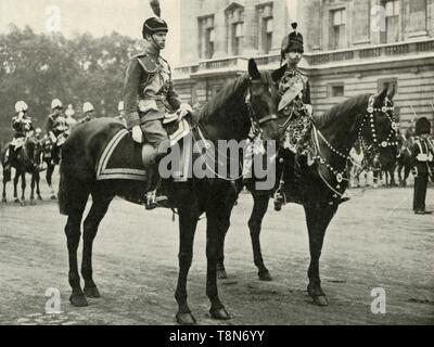 """'His Majesty (Wearing R.A.F. Uniform) with the Duke of Gloucester, at the Trooping the Colour, 1928', 1937. The Duke of York (1920-1936) became King George VI on 11 December 1936. From """"George VI, King and Emperor"""", by Major J. T. Gorman [W. & G. Foyle Ltd., London, 1937] - Stock Photo"""