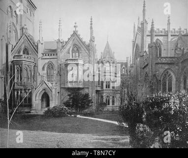 """'Grace Church and Rectory, New York', c1897. French Gothic Revival parich church on Broadway in Manhattan designed by James Renwick. From """"A Tour Through the New World America"""", by Prof. Geo. R. Cromwell. [C. N. Greig & Co., London, c1897] - Stock Photo"""