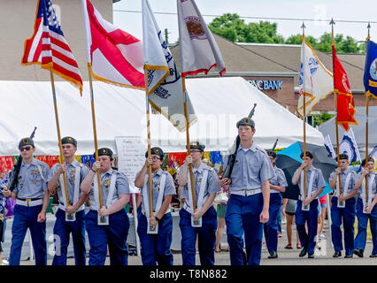 Members of the junior ROTC march in a parade during the Blessing of the Fleet, May 5, 2019, in Bayou La Batre, Alabama. - Stock Photo