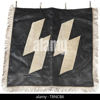 A clarion banner of the Waffen-SS Black silk cloth with silver runes made of silver-plated aluminium braid, embroidered on both sides, and silver fringes on the side borders. Dimensions 50 x 50 cm. historic, historical, 20th century, 1930s, 1940s, Waffen-SS, armed division of the SS, armed service, armed services, NS, National Socialism, Nazism, Third Reich, German Reich, Germany, military, militaria, utensil, piece of equipment, utensils, object, objects, stills, clipping, clippings, cut out, cut-out, cut-outs, fascism, fascistic, National Socialist, Nazi, Nazi period, Editorial-Use-Only - Stock Photo