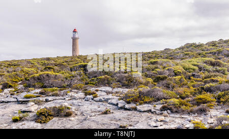 The beautiful Cape du Couedic Lighthouse on an overcast day, Kangaroo Island, Southern Australia - Stock Photo