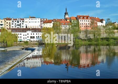View of historic city Pisek in South Bohemia from a weir at Otava river in spring - Stock Photo