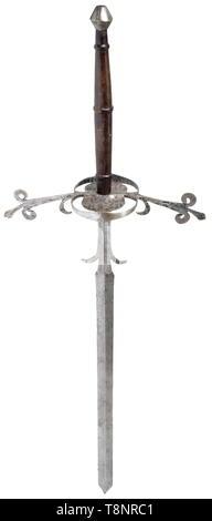 A German two-handed sword, circa 1580  Massive, slightly ridged