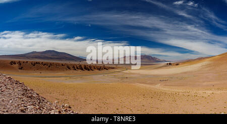 Stone formation Pacana Monks near Salar De Tara panorama, Atacama Desert - Stock Photo