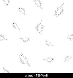 Seamless pattern of contour of dinosaurus stegosaurus. Isolated on white background. Vector illustration. - Stock Photo