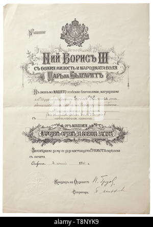 Obersturmbannführer Erich Kempka - an award document for the Bulgarian Military Merit Order Large format, imprinted award document of Tsar Boris III issued on 4 June 1941 to (tr.) 'S.S. Sturmbahnführer Erich Kempka of the vehicle fleet for the Führer of the German Reich' on the award of the Knight's Cross of this order. Erich Kempka (1910 - 1975) was Hitler's driver from 1932 to 1945 and thus present at many historic events of the time. Eventually, he provided for the burning of the bodies of Eva Braun and Adolf Hitler in the garden of the Führer bunker on 30 April 1945, us, Editorial-Use-Only - Stock Photo