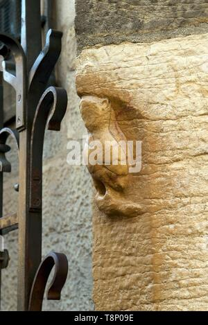 France, Cote d'Or, Cultural landscape of Burgundy climates listed as World Heritage by UNESCO, Dijon, carved lucky owl located on the northern foothills of Notre Dame church - Stock Photo