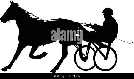 horse and jockey harness racing silhouette - vector - Stock Photo