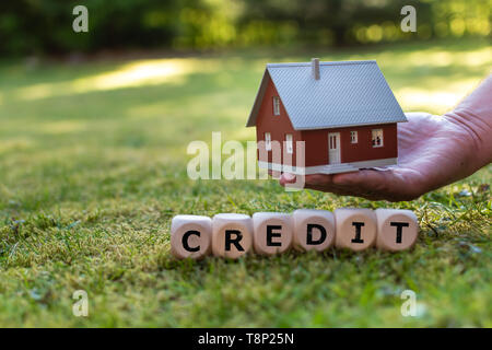 A hand holds a model house above a meadow. Dice form the word 'CREDIT'. - Stock Photo