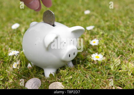 A piggy bank and coin being inserted. - Stock Photo
