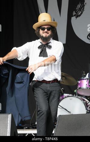 Vinicio Capossela and the La Banda della Posta (The Post Office Band) performing Womad Festival, Charlton Park, UK, July 27, 2014 - Stock Photo