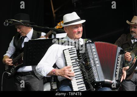 Giuseppe Galgano playing with Vinicio Capossela and the La Banda della Posta (The Post Office Band) Womad Festival, Charlton Park, July 27, 2014 - Stock Photo