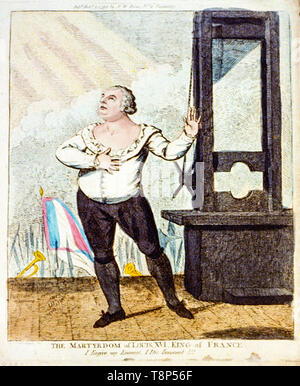 Louis XVI facing death, standing, with a dramatic pose, next to a guillotine, hand coloured etching, engraving, Isaac Cruikshank, 1793 - Stock Photo