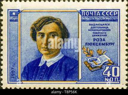 The Soviet Union 1957-1958 CPA 2114 stamp (Rosa Luxemburg (1871-1919), German Revolutionary Socialist - Stock Photo